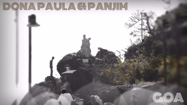 People and the statue in Dona Paula Panjim Goa