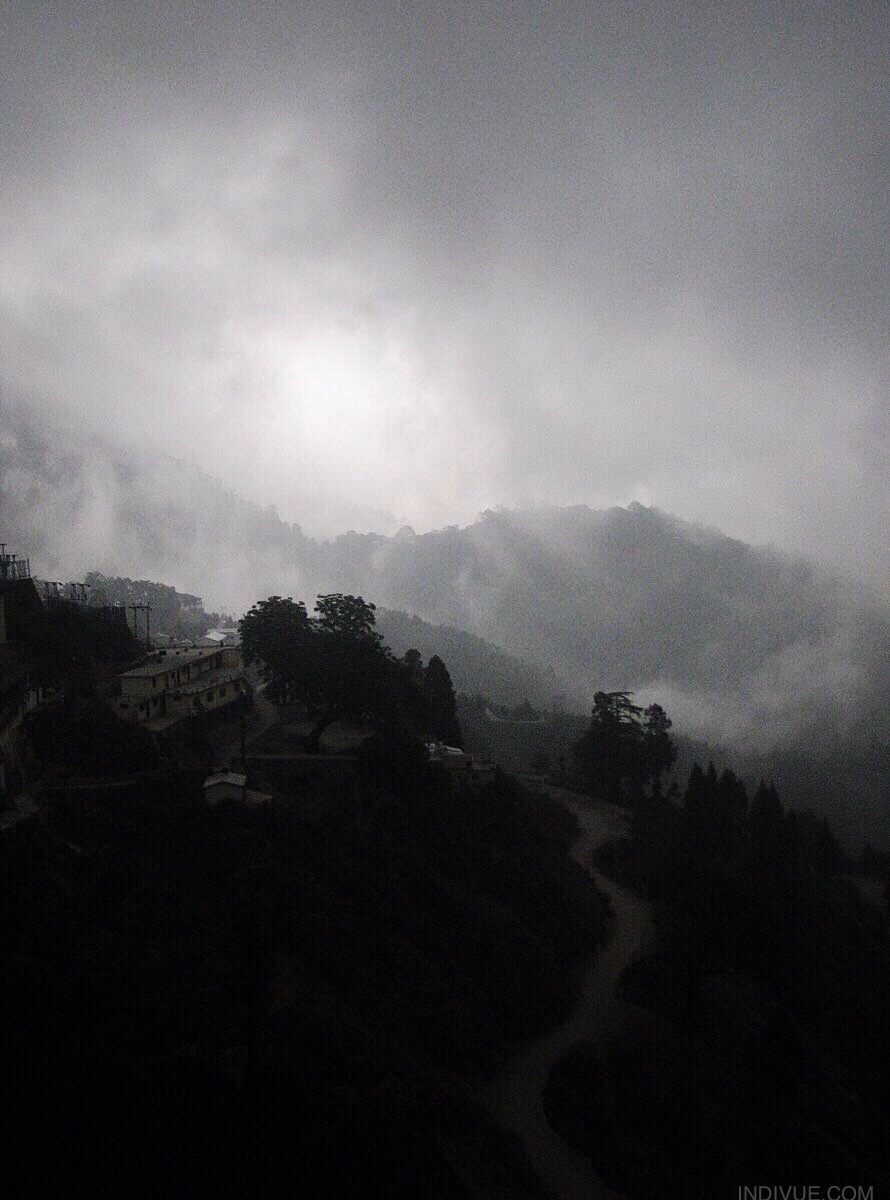 Foggy sunrise in Mussoorie, hillstation in North India