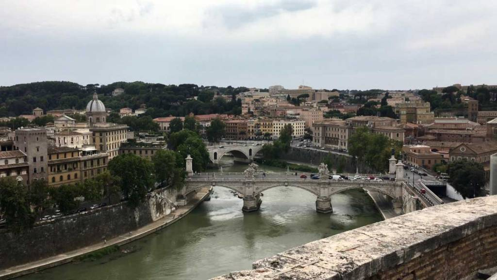 Rome Italy buildings and the river Tiber