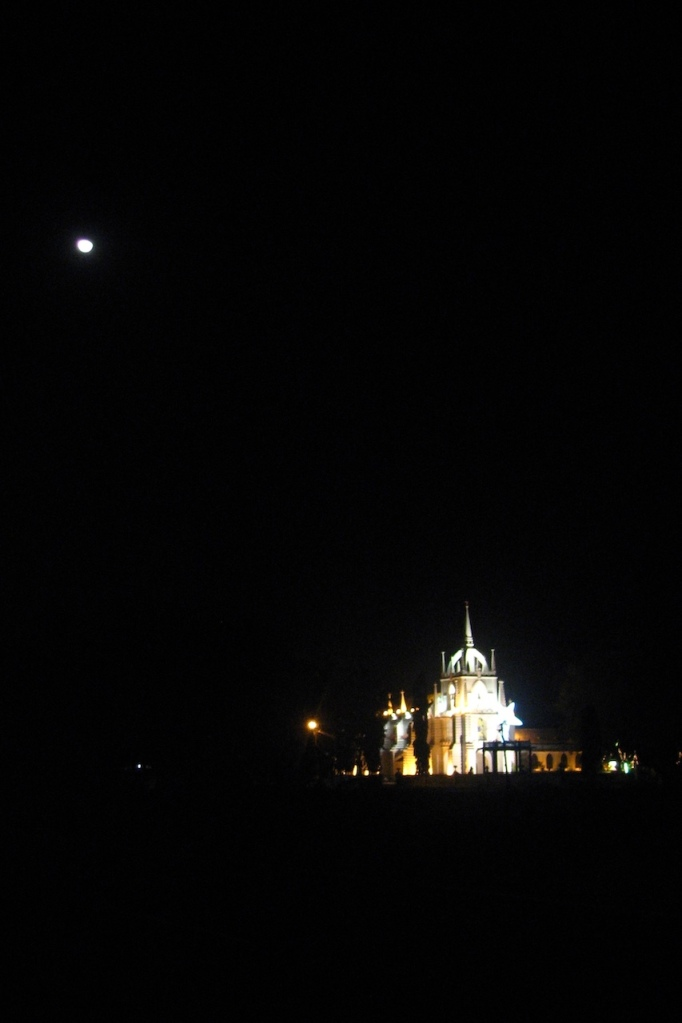 Goan church with moon and Christmas lights