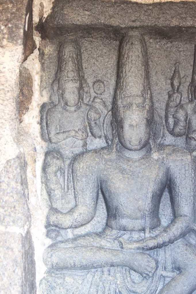 Images of Gods carved in stone inside the Shore Temple in Mahabalipuram, India