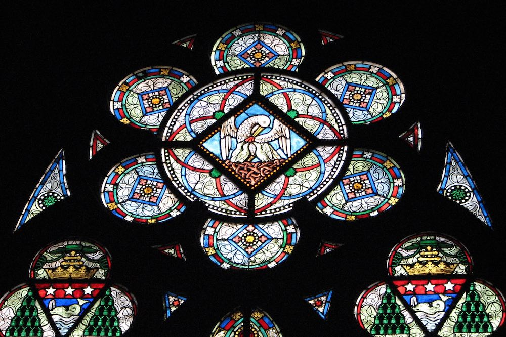 Glass painting in Notre Dame, Paris