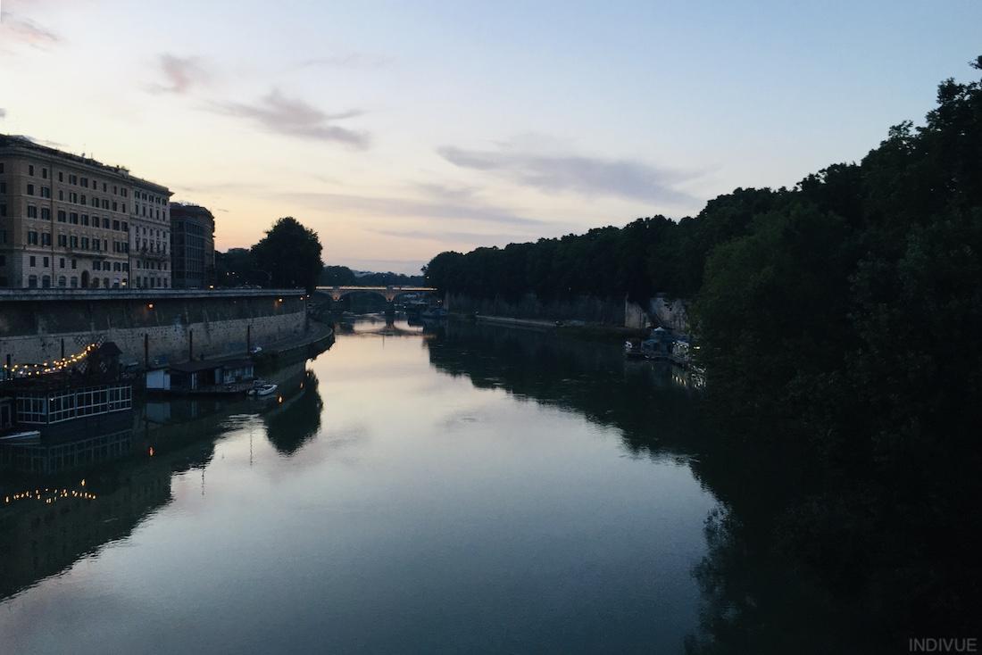 River Tiber in dusk in Rome