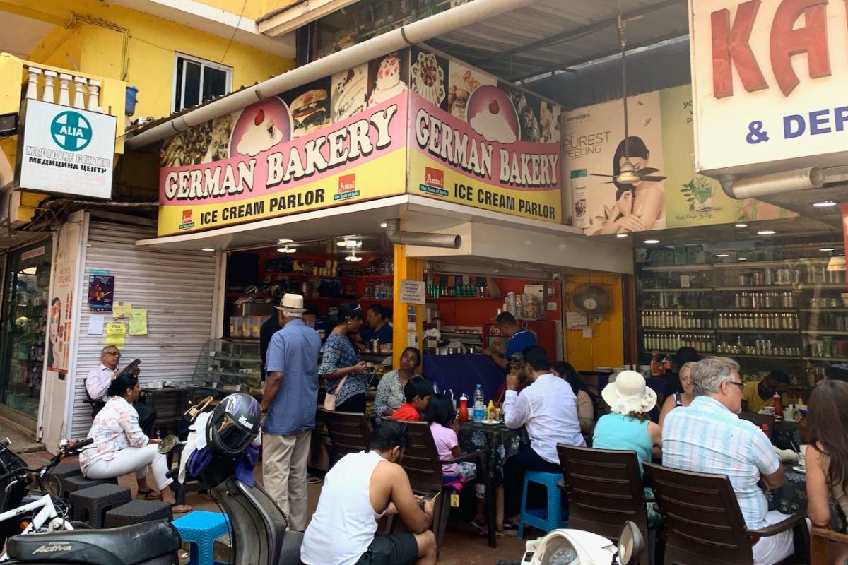 Cafe German Bakery and the customers in Benaulim South Goa