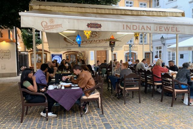 Restaurant Indian Jewel outdoor terrace, Prague