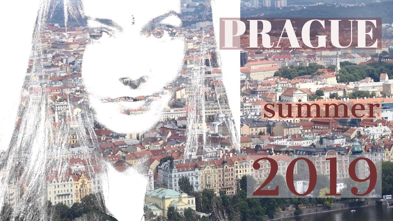 The indivue blogger's portrait with buildings in Prague city